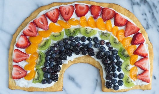 Rainbow fruit pizza.