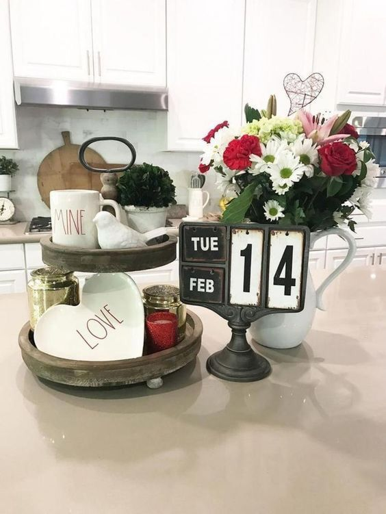 Rustic kitchen decor for Valentine's day.