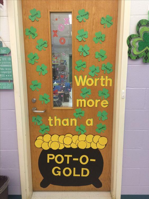 Shamrock Pot-o-gold classroom door decor idea.