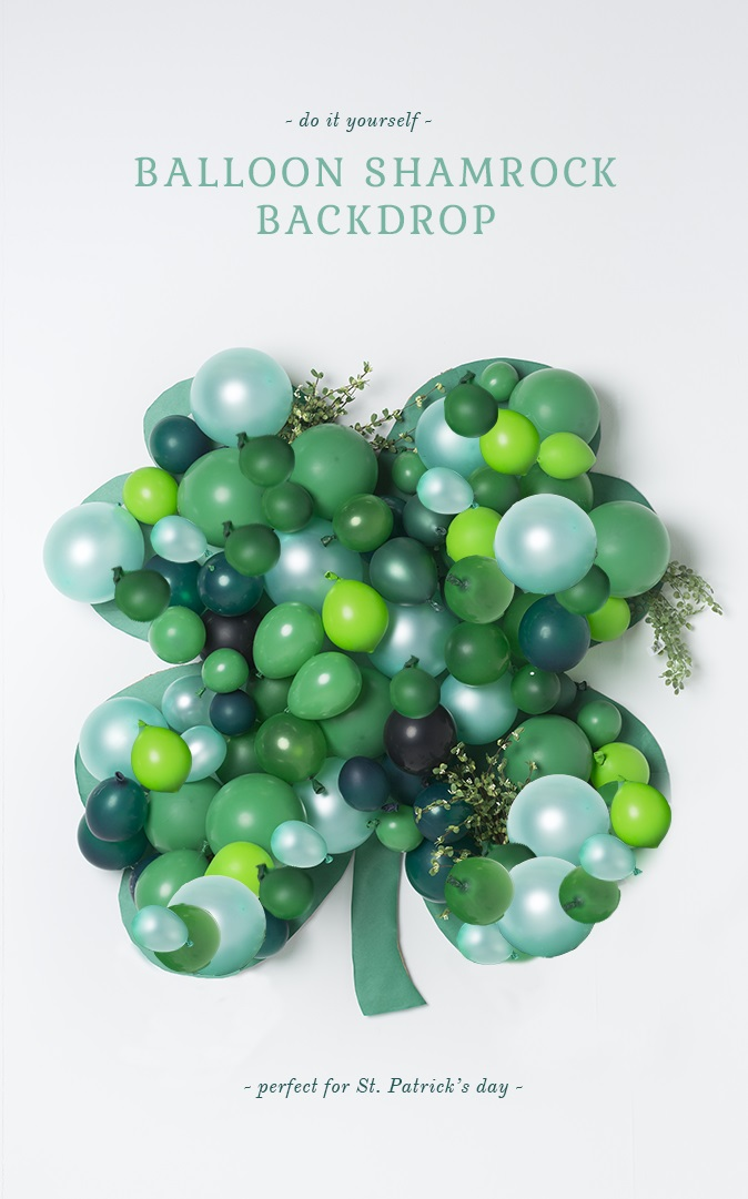Shamrock balloon wall decor for St. Patricks day.