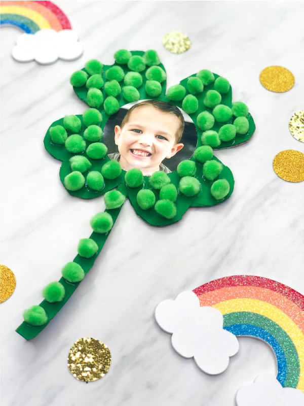 Shamrock craft with kids photos.