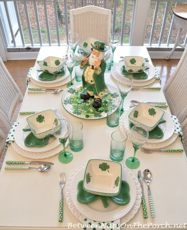 Shamrock dishes for St. Patricks day table setting.