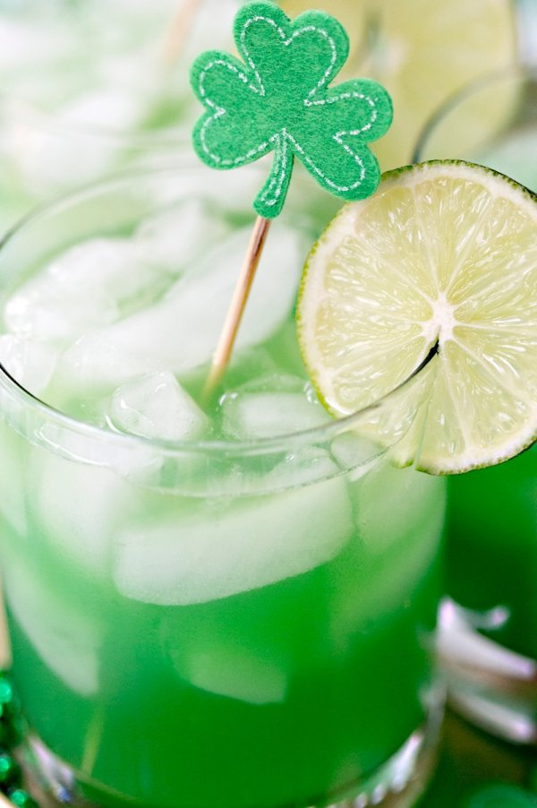 Shamrock sour cocktail for St. Patty's day.