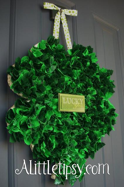 St Patrick's fabric scrap shamrock door hanger.