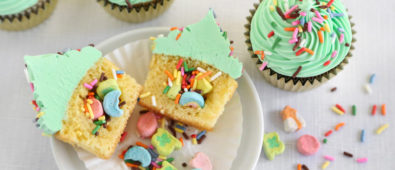 St. Patricks cup cakes with surprise inside it.
