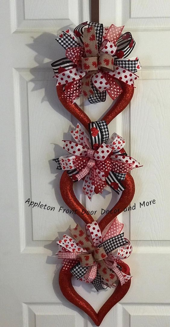Triple heart wreath for front door.