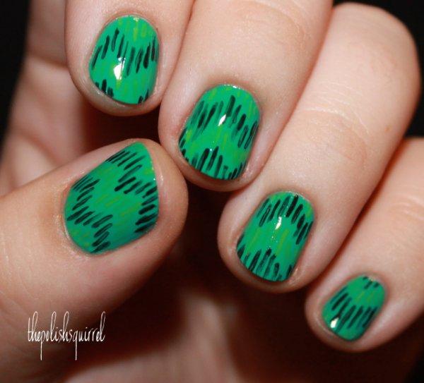 Unique St. Patrick nails.