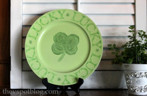 Up-cycled old plate for St. Patricks day decoration.