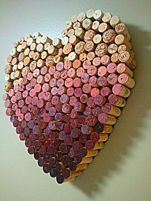 Wine cork heart craft.