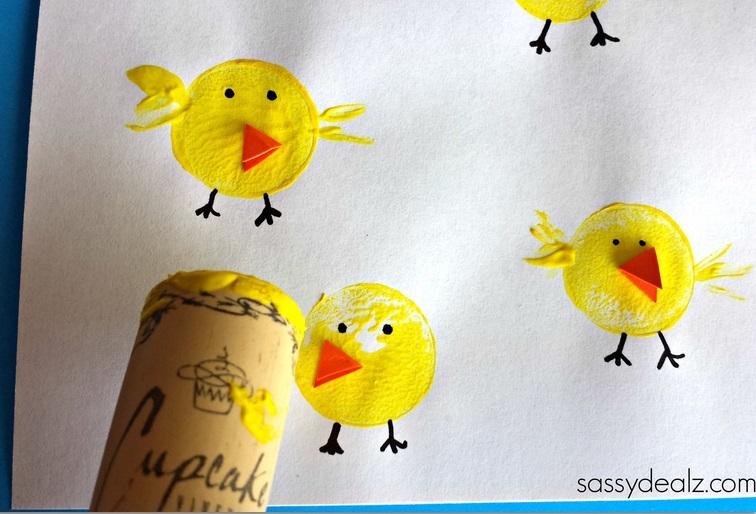 Wine corn chicks kids craft.