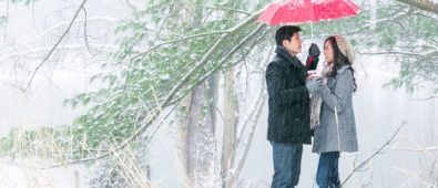 Winter photoshoot for romantic couple.