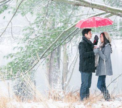 Winter photoshoot for romantic couple.