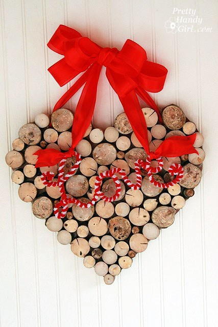 Wooden heart wreath for Valentine day.