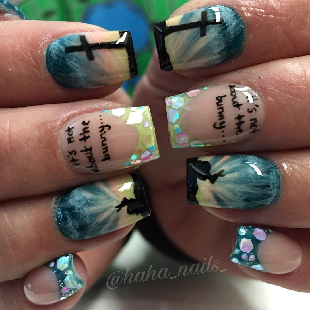 Amazing french tips Easter nails with cross and bunny.