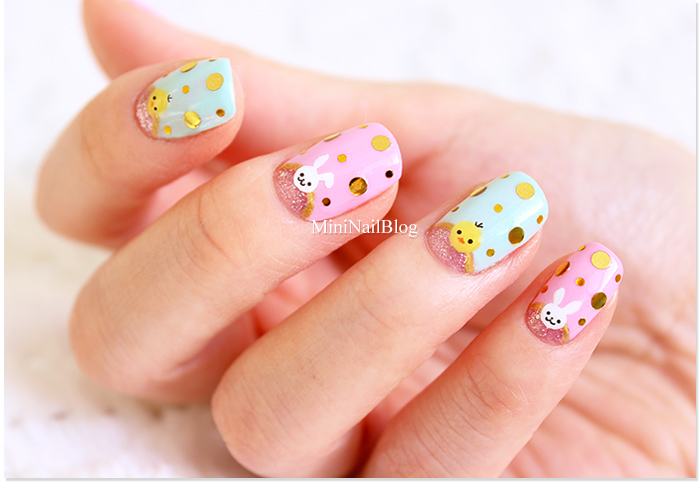 Awesome bunny half moon nails.