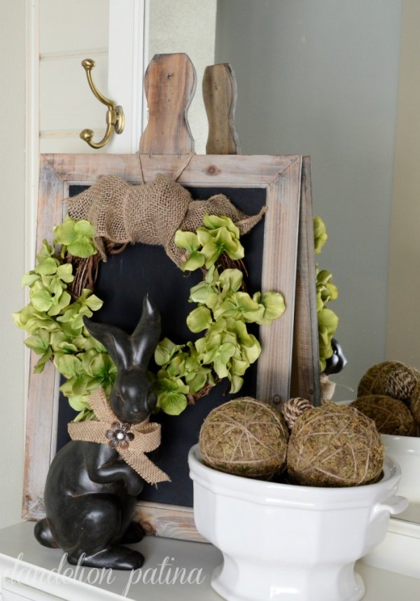 Awesome rustic wreath and Easter bunny with burlap bow.