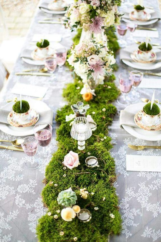Beautiful floral runner for Easter lunch party.