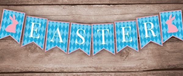 Blue check printable Easter banner.