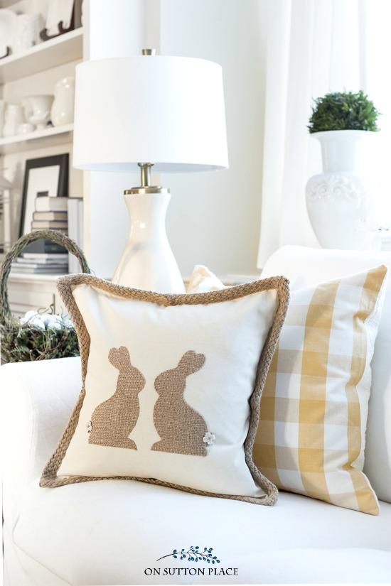 Budget friendly burlap Easter bunny pillow.