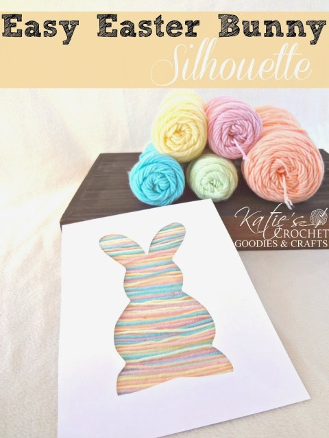 Bunny yarn silhouette craft for toddlers.