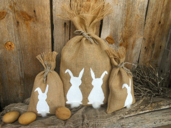 Burlap gift bag with Easter bunny.