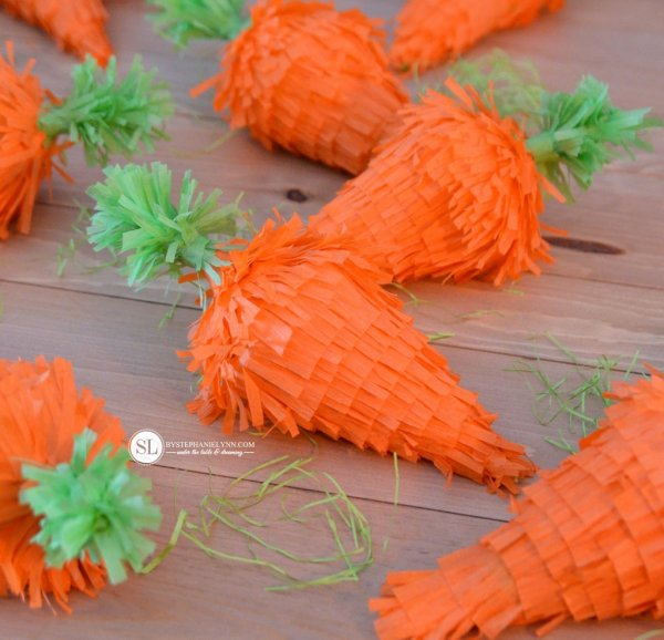 Carrot pinatas for Easter.