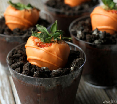Chocolate covered strawberries as carrot.