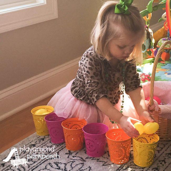 Cleaver Easter egg color sorting game.