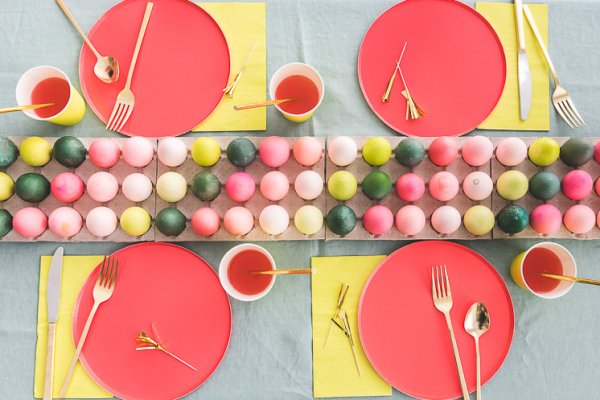 Colorful Easter egg runner tablescape.