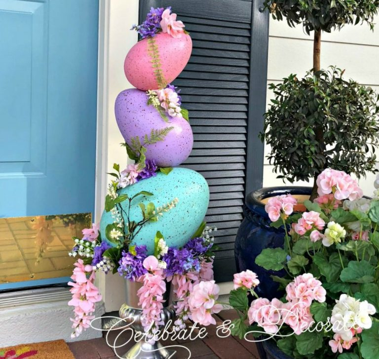 Colorful Easter egg topiary.
