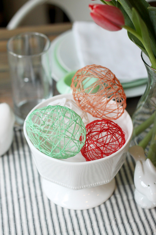 Colorful Hollow string Easter eggs.