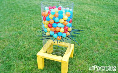 DIY backyard ker plunk game.