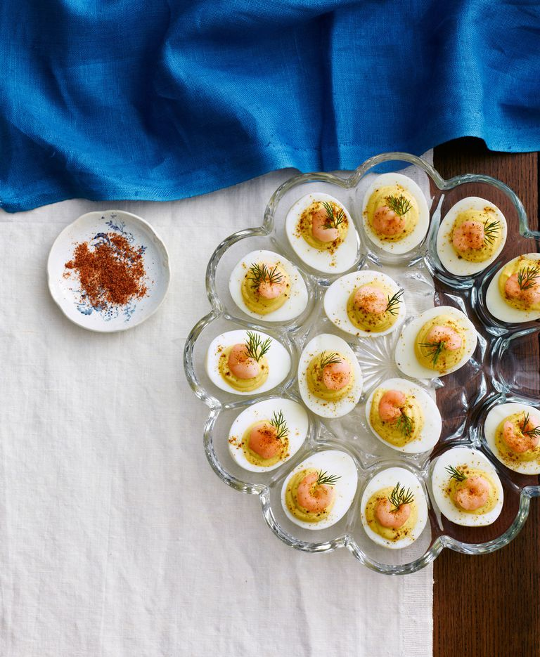 Deviled eggs with old bay shrimp recipe.