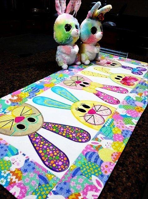 Easter bunny table runner design.