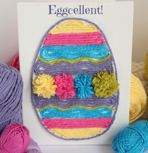 Easy Easter egg yarn art.