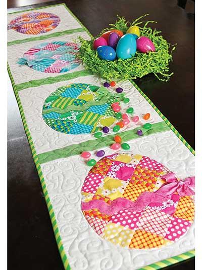 Elegant patch work Easter egg table runner.