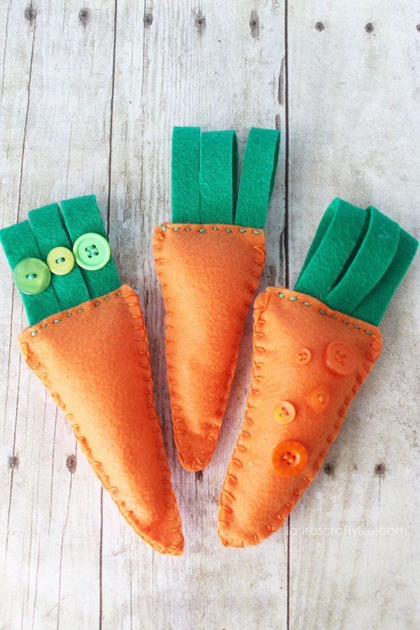 Embroidered Felt Carrots.