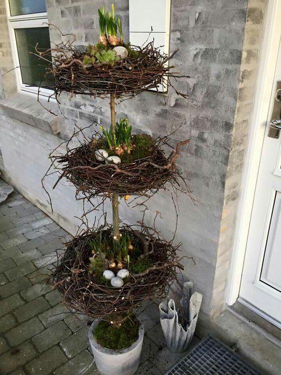 Fabulous tri-level Easter egg nest topiary.