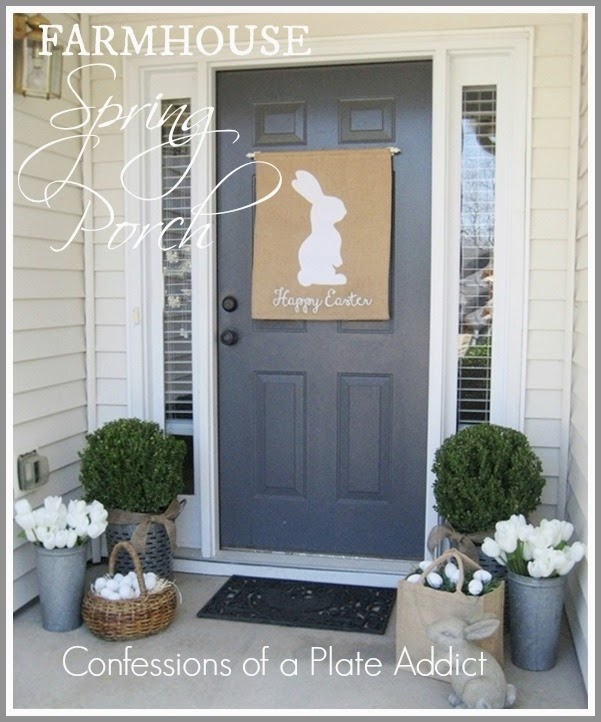Farmhouse style Easter porch decortion.