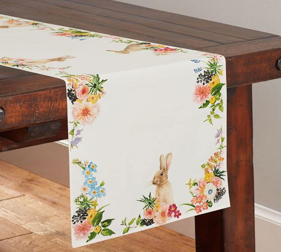 Floral bunny table runner for Easter.