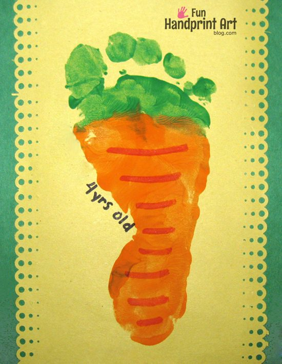 Foot print carrot activity for toddlers.