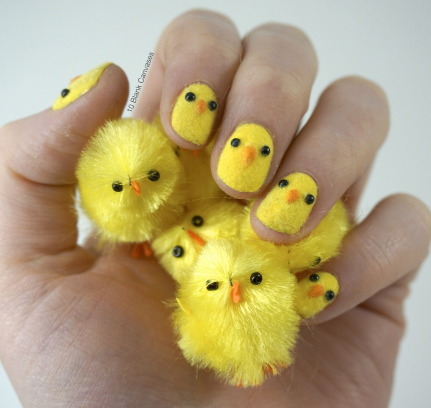 Fuzzy chick nails.