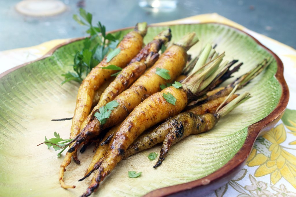 Gorgeous Vegan grilled curry glazed carrots.