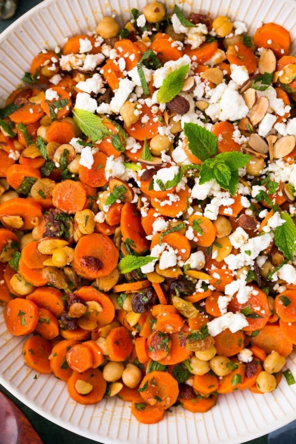 Healthy moroccan carrot chick pea salad with feta and almonds.