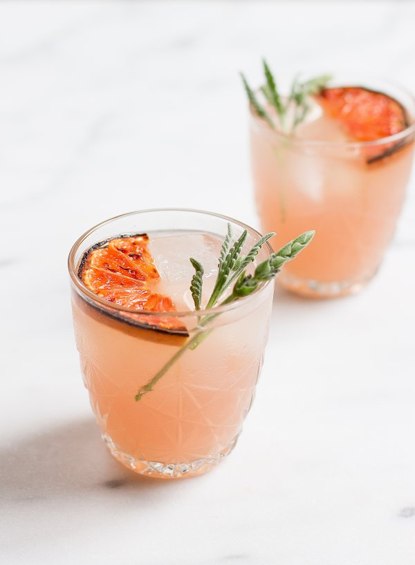 Lavender and grapefruit greyhound brunch cocktail.
