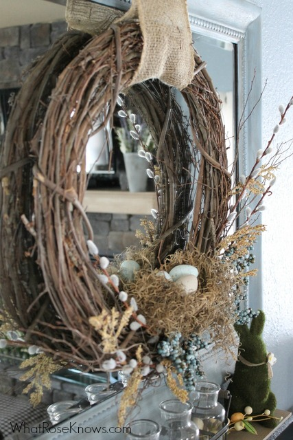 Marvelous rustic Easter wreath with moss bunny.