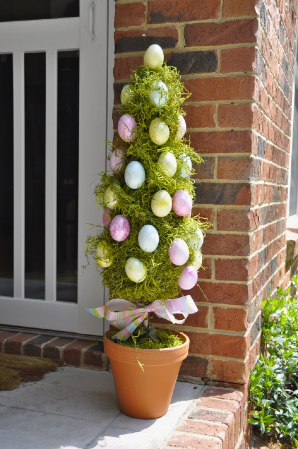 Nice Easter egg topiary tree for porch decor.