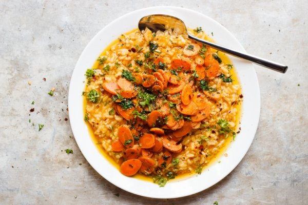 No-stir risotto with herbed caramelized carrots.