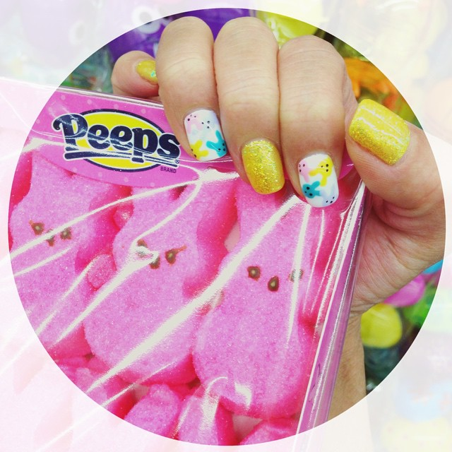 Peeps nails for Easter.