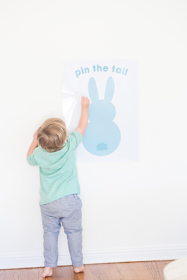 Pin the tain on bunny game activity.